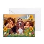 2 Angels & Basset Greeting Cards (Pk of 10)