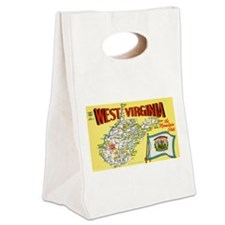 West Virginia Map.jpg Canvas Lunch Tote