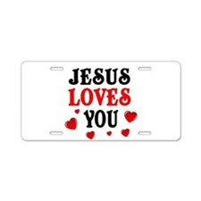 Jesus loves you -Hearts Aluminum License Plate