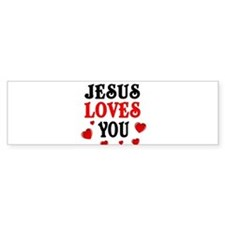 Jesus loves you -Hearts Bumper Bumper Sticker