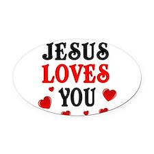 Jesus loves you -Hearts Oval Car Magnet
