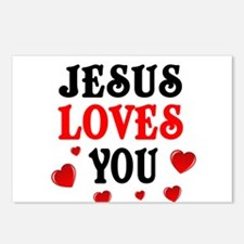 Jesus loves you -Hearts Postcards (Package of 8)