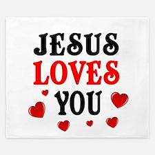 Jesus loves you -Hearts King Duvet