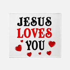 Jesus loves you -Hearts Throw Blanket