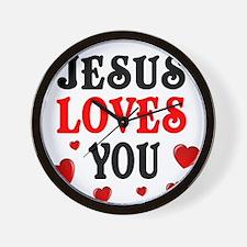 Jesus loves you -Hearts Wall Clock