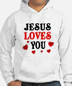 Jesus loves you -Hearts Hoodie