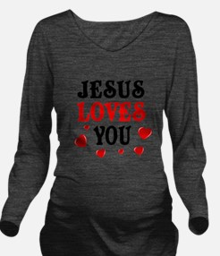 Jesus loves you -Hearts Long Sleeve Maternity T-Sh