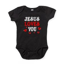 Jesus loves me hearts white Baby Bodysuit
