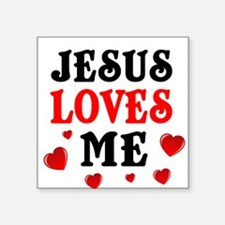 Jesus loves me hearts Sticker