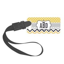 Yellow Gray Chevron Quatrefoil Luggage Tag