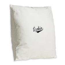 Lankin, Retro, Burlap Throw Pillow