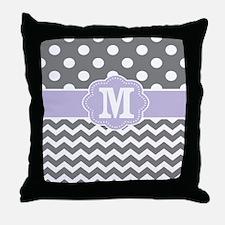 Gray Purple Dots Chevron Monogram Throw Pillow