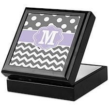Gray Purple Dots Chevron Monogram Keepsake Box