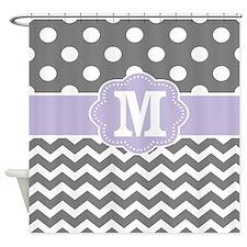 Gray Purple Dots Chevron Monogram Shower Curtain