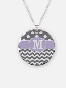 Gray Purple Dots Chevron Monogram Necklace