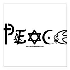 "Cute Symbol for coexistence Square Car Magnet 3"" x 3"""