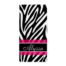 Zebra Print Pink Personalized Beach Towel