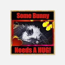 """Some Bunny Needs a HUG! Square Sticker 3"""" x 3"""""""