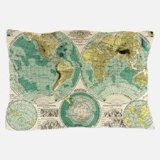 Old World Map Pillow Case