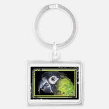 Green and Black Conure Landscape Keychain