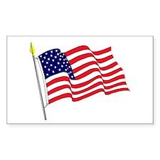 Waving American Flag Rectangle Decal