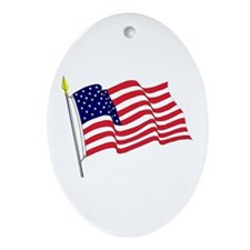 Waving American Flag Oval Ornament