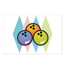 Retro Argyle Bowling Design Postcards (Package of