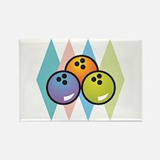 Retro Argyle Bowling Design Rectangle Magnet