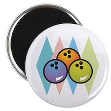 """Retro Argyle Bowling Design 2.25"""" Magnet (100 pack"""