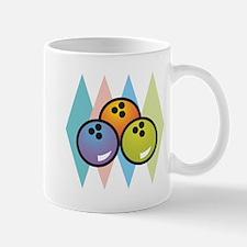 Retro Argyle Bowling Design Mug