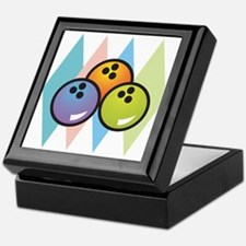 Retro Argyle Bowling Design Keepsake Box