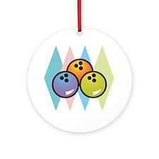Retro Argyle Bowling Design Ornament (Round)
