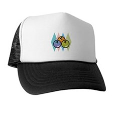 Retro Argyle Bowling Design Trucker Hat