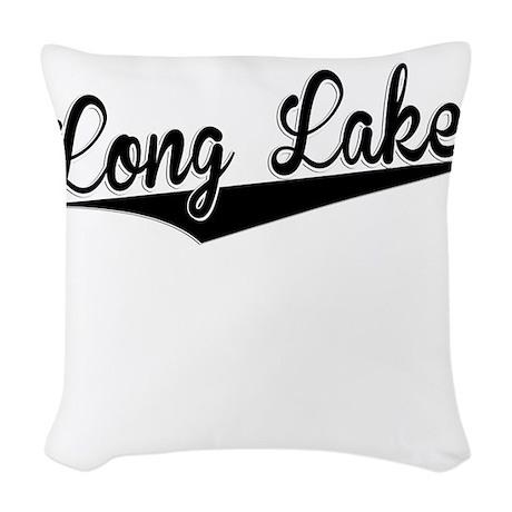 Long Lake, Retro, Woven Throw Pillow