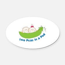 two peas in a pod Oval Car Magnet