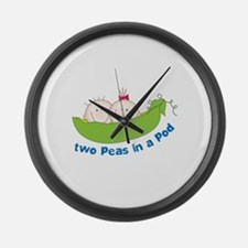 two peas in a pod Large Wall Clock