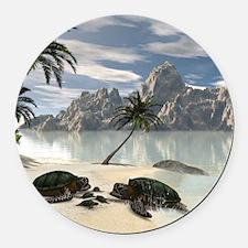 Turtles family Round Car Magnet
