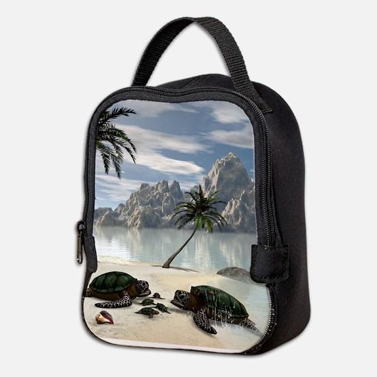 Turtles family Neoprene Lunch Bag