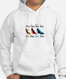 One Shoe Two Shoe, Red Shoe, Blue Shoe Hoodie