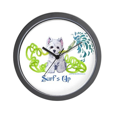 Westie Surf's Up Terrier Wall Clock