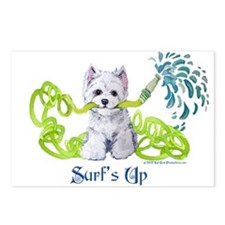 Westie Surf's Up Terrier Postcards (Package of 8)