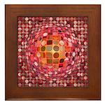 Optical Illusion Sphere - Pink Framed Tile