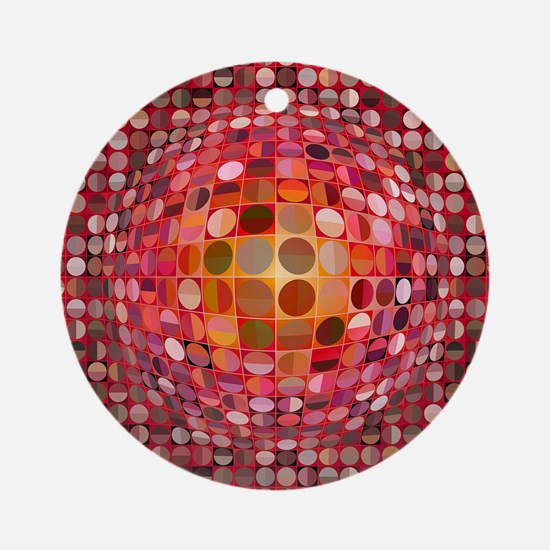 Optical Illusion Sphere - Pink Ornament (Round)