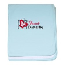 Social Butterfly baby blanket