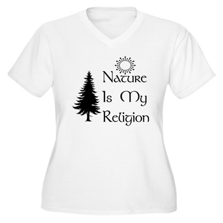 Nature Is My Religion Women's Plus Size V-Neck T-S