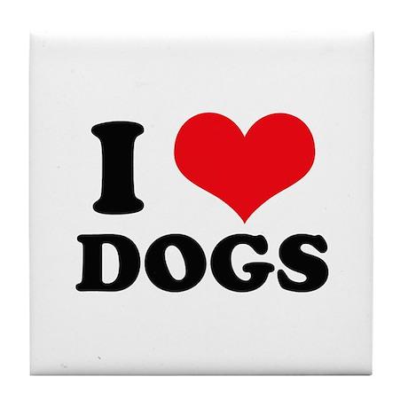 I Heart Dogs Tile Coaster