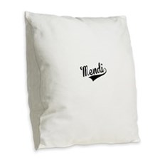 Mendi, Retro, Burlap Throw Pillow