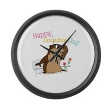 Happy Groundhog Day Large Wall Clock