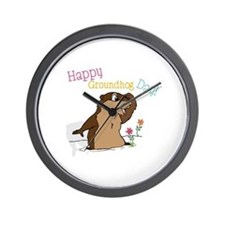 Happy Groundhog Day Wall Clock