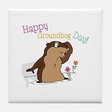 Happy Groundhog Day Tile Coaster